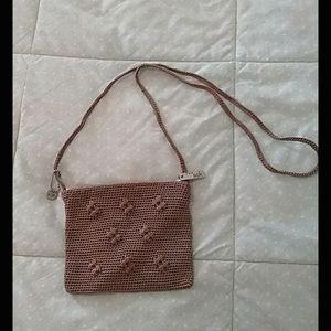 The sak small crochet crossbody purse taupe